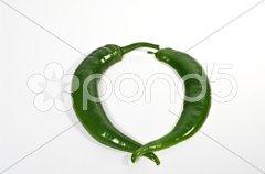 Kreis aus halben Pepperoni Stock Photos