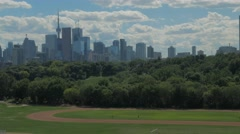 Toronto Skyline Buildings Riverdale Track Field Park Day Clouds Stock Footage