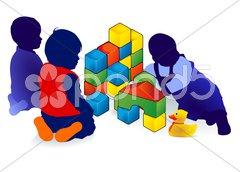 Drei Kleinkinder spielen Stock Photos
