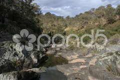 Flußbett vom Wollomombi River Stock Photos