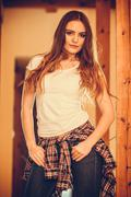 Alluring seductive young woman girl. Stock Photos