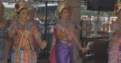 Thai women dancing in national clothes, Bangkok Stock Footage
