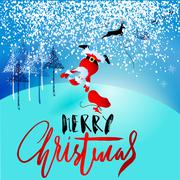 Santa Claus fall from sleigh with harness on the reindeer. Vector illustration Piirros