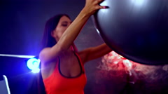 Girl with big ball do exercises on fitball. Stock Footage