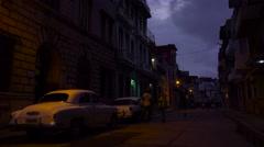 A quiet street in Havana Cuba at night. Stock Footage