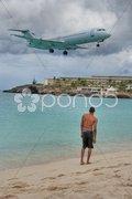 Saint Maarten Beach, Dutch Antilles Stock Photos