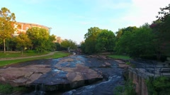4k Cinematic Flying Up River In Downtown Greenville SC Stock Footage
