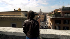 Woman admire Italian cityscape in Rome, Italy, super slow  motion 240fps Stock Footage