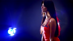 Sports girl with dumbbells in fitness room. Stock Footage