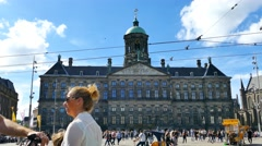 Time lapse - Dam square on a sunny day Stock Footage