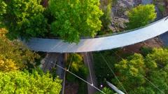 4k Cinematic Aerial of Footbridge In Greenville South Carolina In Morning Light Stock Footage