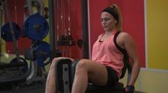 Girl Boxer makes exercise Stock Footage