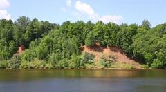 Steep banks of the Volga river Stock Footage