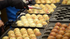 Takoyaki cooking Japanese food Stock Footage