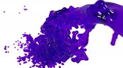 Purple fluid splash in slow motion with DOF. clear liquid Stock Footage