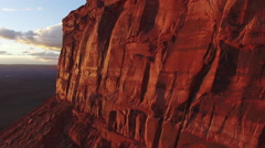 Super Long Fly Over Cliff and Desert Towards Beautiful Canyon Spines at Sunse Stock Footage