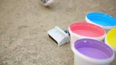 Street Artist Preparing Paint Stock Footage