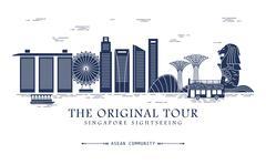 Singapore travel concept Piirros