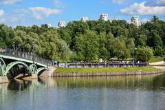 Moscow, Russia - June 08. 2016. General view of park Tsaritsyno in summer Stock Photos