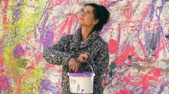 Woman Artist Splatter Painting Stock Footage