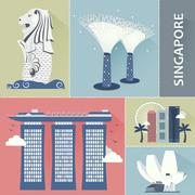 Singapore travel attractions Stock Illustration