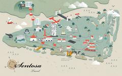 Sentosa travel map Stock Illustration