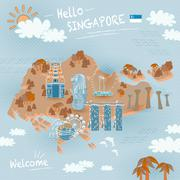 Singapore must see attractions Stock Illustration