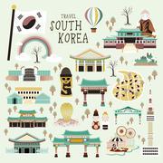South Korea attractions Stock Illustration