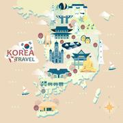 South Korea travel map Stock Illustration