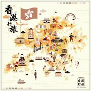 Lovely Hong Kong travel map Stock Illustration