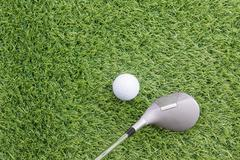 Sport objects related to golf equipment Stock Photos