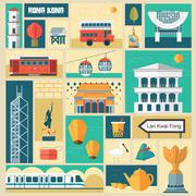 Hong Kong travel attractions Stock Illustration