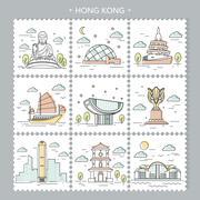Hong Kong travel attractions Stock Illustration