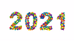 2021 New Years date in multicolored round balls Stock Footage