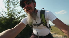 Cross country mountain bike riding Stock Footage
