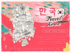 South Korea travel map Stock Illustration