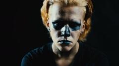 Portrait man in dark Stock Footage