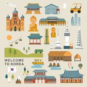 Adorable South Korea collections Stock Illustration