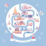 South Korea travel poster Stock Illustration