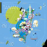 Taiwan attractions map Stock Illustration