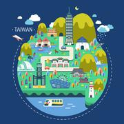 Taiwan travel concept Stock Illustration