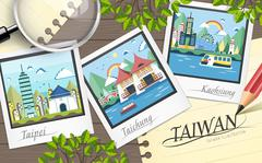 Taiwan travel attractions Stock Illustration