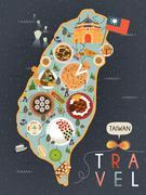 Taiwan specialties poster Stock Illustration