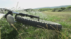 Mountain bike with sage flowers outdoors Stock Footage
