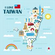 Lovely Taiwan travel map Stock Illustration