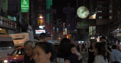 Crowded Chinatown with dense traffic at night, Bangkok Stock Footage