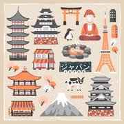 Lovely Japan traveling collections Stock Illustration