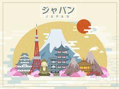 Lovely Japan travel poster Stock Illustration
