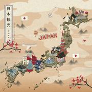 Elegant Japan travel map Stock Illustration
