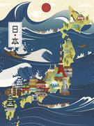 Attractive Japan travel map Stock Illustration